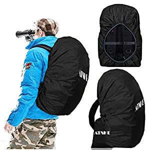 ATNKE 2 Pieces Waterproof Backpack Rain Cover with Elastic Buckle for Hiking,Camping,Cycling,Outdoor Activities/(S:18-25L,M:26-40L,L:41-55L)