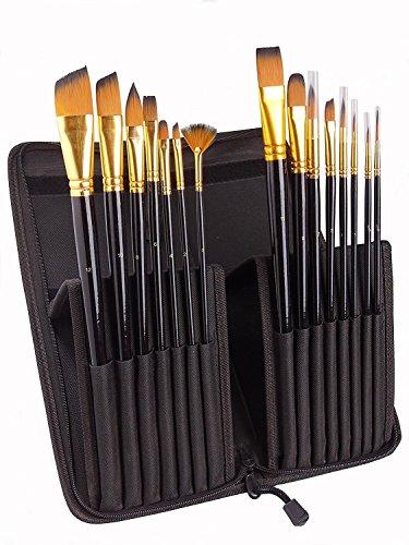 Paint Brush Set von 15 für Acrylmalerei, Aquarell, Öl und Gouache Verschiedene Größen Multifunktionsbürsten Form (Rundpunkt, abgewinkelt, Fan, Filbert)