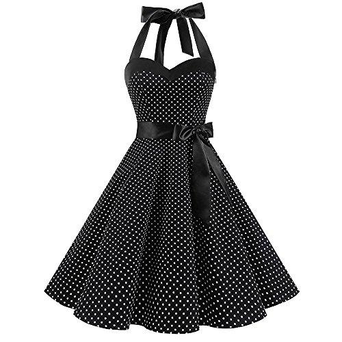 LUBITY Robe de Bal Polka Vintage pin-up à 'Audrey Hepburn' 50's 60's Rockabilly Halter Dos Nu à Pois Sexy Robe Vintage Année 40 50 60 Robe de Cocktail Décolleté (Noir, Small)
