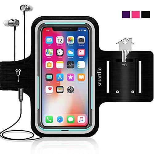 Smartlle Sportarmband kompatibel mit iPhone X XR XS 8 8s 7 7s 6 6s se & Samsung Galaxy S9 S8 S7 S6 Edge. Running, Workout & Joggen Laufen Armband - Handyhalter Case(schwarz)