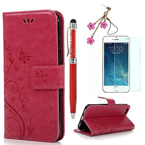 Rote Rosen Iphone (iPhone 6s Handyhülle KASOS Case für iPhone 6 Flip Case Ledertasche Schutzhülle Leder Huelle Stand Halter Magnetverschluss Schmetterling Blumen ,Rose Red + Schutzfolie + Staubschutz + Eingabestift)
