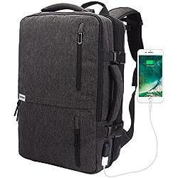Lifeasy Voyage Sac à Dos pour Grande Capacité Ordinateur Portable 40L Vol Approuvé sur Daypack Weekend Extensible Sac à Dos Polyvalent avec Port de Charge USB Sac à Bandoulière pour Sac à Main (Gris)