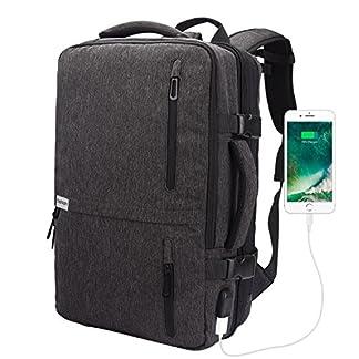 Lifactory – Mochila para ordenador portátil de 15,6″ con puerto de carga USB, ampliable, 35 L, tamaño grande, multifunción, para llevar en el bolso de mano, bolso de hombro, para el trabajo, la escuela, viajes, etc.