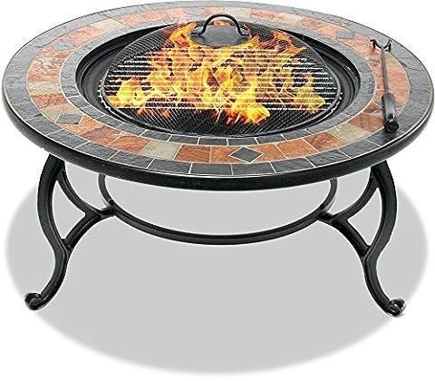 Centurion Supports Fireology Laniaka généreux Jardin et chauffage Patio Brasero en, table basse, barbecue et seau à glace avec dalles ardoise
