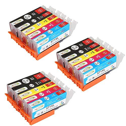 Win-TinTen Sostituzione 15 pacco Canon PGI 570XL CLI 571XL compatibile cartuccia d'inchiostro per Canon Pixma MG5750 MG5751 MG5752 MG5753 TS6050 TS6051 TS6052 TS5050 TS5051 TS5052 TS5053 Stampanti.