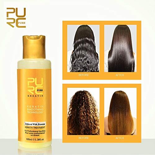 PURC 12% Banana Flavor Keratin Treatment Straightening Hair Repair Damage Frizzy Hair Brazilian Keratin Treatment 100ml