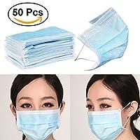 UEETEK Einmalige 3-lagige Chirurgische Ohrschleife Gesicht Staub Mund Abdeckung Masken mit Non-Woven-Gewebe (blau