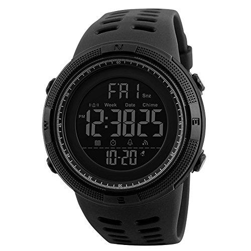 Reloj Digital para Hombre Deportivo Militar Resistente al Agua Reloj de Pulsera Casual Electrónico con Alarma Calendario Cronómetro Color Negro
