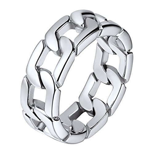 U7 Herren Ringe Panzerkette Design Edelstahl Ring Massiv Biker Hochglanzpoliert Bandring Hip Hop Ringe für Männer(54)