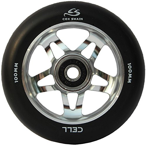 COX SWAIN 2 Stk. High End 100mm Stunt Scooter Rollen Alu Core - Abec 11 Lager, Colour: Cell (Black/ Silver), Size: 100mm