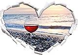 Weinglas am Steinstrand Herzform im 3D-Look, Wand- oder Türaufkleber Format: 92x64.5cm, Wandsticker, Wandtattoo, Wanddekoratio