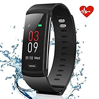 AKASO Fitness Tracker Watch, Activity Tracker with Heart Rate Monitor, Waterproof Step Tracker Watch, Physiological Reminder Smart Band with Color Screen for Kids Women and Men (a.Black)