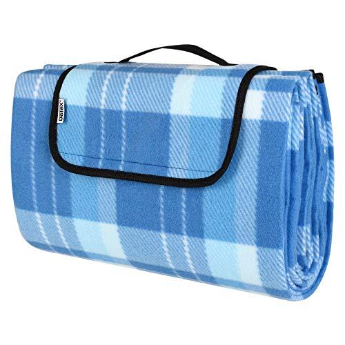 Detex Picknickdecke 195 x 150 cm XL 3lagig wärmeisoliert wasserdicht Fleecestoff Tragegriff Blau kariert Stranddecke