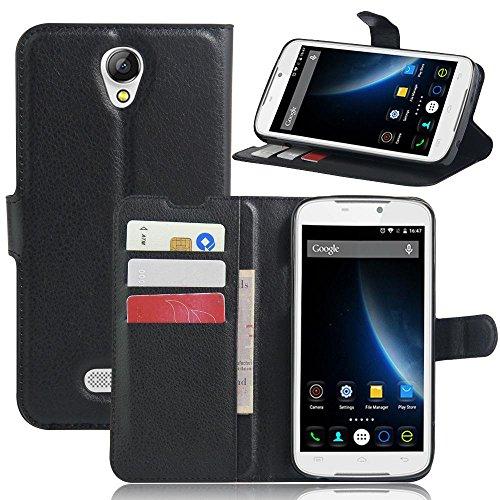ECENCE Handy-Schutzhülle - Handytasche für Doogee X6 / X6 Pro Schwarz - Smarthone Case Cover stoßfest mit Kartenfach - Handycase mit Stand-Funktion 41040202