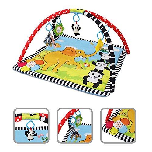 Alfombrilla de juego para bebé – Alfombra con pandas con arcos y juguetes educativos