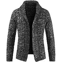 Cardigan Hombre Botón Abrigo de Punto Chaqueta de Solapa Suéter Capa Sweater Coat Manga largas Otoño e Invierno Gusspower