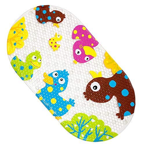 Bligli Non-slip Bath Mat Bright Fancy Cartoon Printed Bath Mats with Suction Cup for Kids Children Mat (Colour Duck)