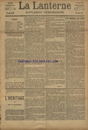 LANTERNE (LA) [No 95] du 06/06/1886 - LES MARGES DU CODE PAR QUATRELLES - TRIBUNAUX COMIQUES PAR MOINAUX - LE PERE BINARD PAR BOUVIER - LES SALVIATI PAR NORIAC - UN NOUVEAU MUSEE PAR DUMONTEIL - LA SANTE PUBLIQUE PAR LE DR MARC - FEUILLETON / L'HERITAGE PAR DE MAUPASSANT