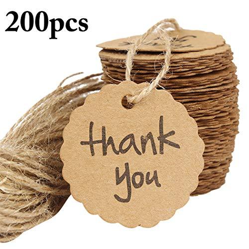 (Outgeek Weihnachten hängende Tags, 200PCS Weihnachten hängende Tags Flower Edge Danke Geschenk Tags Markierung Tags)