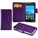 (Purple) Huawei Ascend Y600 Caso fino estupendo Faux Leather succión Pad Monedero piel de la cubierta con el crédito / débito ranuras para tarjetasBy ONX3