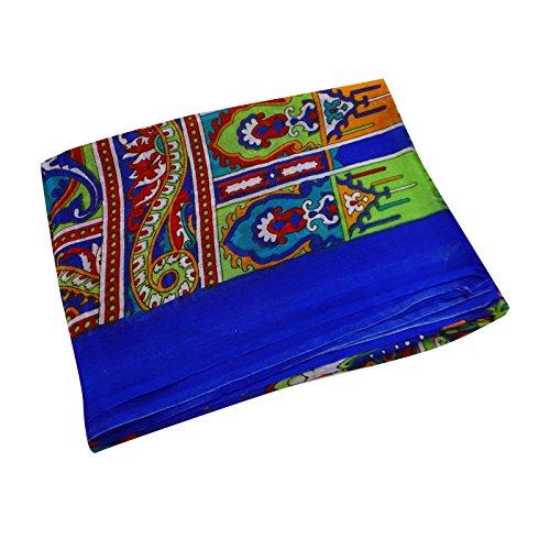 """Rectangle Foulard en soie Wrap Pure soie longue écharpe Femmes imprimé floral Écharpes 76 """"x 29"""" pouces Bleu et vert"""