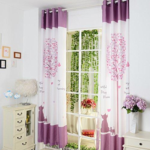 GWELL Süß Baum Druck Vorhang Schal mit Ösen TOP QUALITÄT Gardine für Kinderzimmer Schlafzimmer grün lila - Baby-mädchen-kinderzimmer-fenster-vorhang