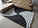 ZHDC® Teppich, 3D Dimensional Stretch Seide Teppich Wohnzimmer Teppich Couchtisch Schlafzimmer Bedside Wash away Teppich Weich und bequem ( Farbe : Schwarz und weiß , größe : 120*170cm )