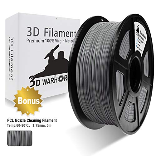 3D Warhorse PLA Filament Silver, PLA Filament 1.75mm,PLA 3D Printer Filament,Dimensional Accuracy +/- 0.02 mm, 2.2 LBS(1KG),1.75mm Filament, Bonus with 5M PCL Nozzle Cleaning Filament