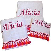 Juego de toallas bordado con puntilla (toalla de cara +toalla de mano+toalla de cuerpo)
