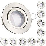10er LED Einbaustrahler Set Silber gebürstet mit LED GU10 Markenstrahler von LEDANDO - 5W - schwenkbar - warmweiss…