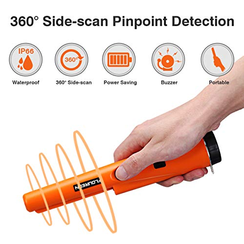 Floureon Tragbar Metalldetektor Metallsuchgerät Pinpointer Gold Metal Detectors GP-Pointer 360 °Scan Buzzer Vibrieren Underground Schatzsuche Werkzeug Metalldetektoren mit Holster LED Indikator -