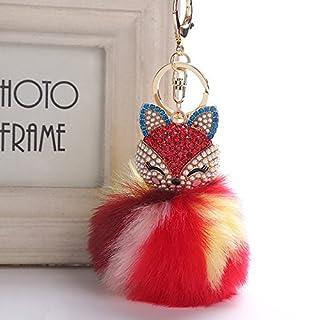Gaddrt Cute Fox Fur Ball Doll Keychain Keyrings Inlay Pearl Rhinestone Charm Pendant Bag Car Women Key Ring Holder Pompoms Key Chain (F)