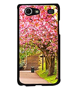 PrintVisa Designer Back Case Cover for Samsung Galaxy Advance i9070 (Pink Abstract Illustration Steps Park Decorative concept Vector)