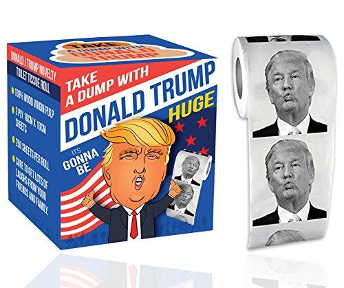 enpapierrolle - nehmen Sie eine Dump mit Präsident Donald Trump Neuheit Geschenk | 1 Rolle des lustigen Toilettenpapiers Donald Trump (Filmes De Comedia Halloween)