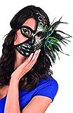 Boland 00401 - Máscara veneciana con las plumas del pavo real, Negro