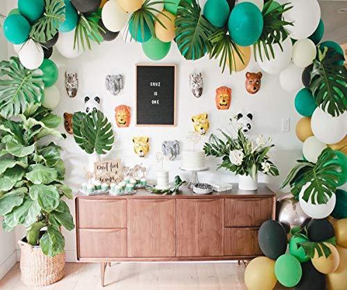foci cozi Dschungel-Safari-Thema-Partei-Dekorationen Latex-Ballone, grüne Palmblätter,Safri-Partei-Versorgungsmaterialien und Bevorzugungen für Kinderjungen-Geburtstags-Babyparty-Dekor