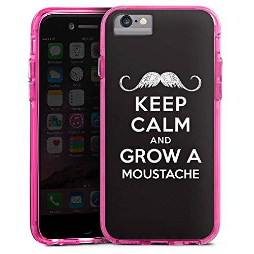 Apple iPhone 8 Bumper Hülle Bumper Case Glitzer Hülle Keep Calm and Grow A Moustache Phrases Sprüche Bumper Case transparent pink