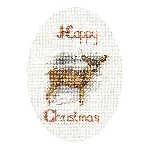 Derwentwater Designs Christmas Kreuzstich Card Kit–Deer in a Snow Storm