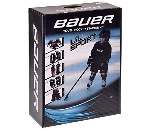 Bauer Eishockey Starter Set Lil Sport Bambini inkl. Schulterschutz, Ellbogenschoner, Schienbeinschoner, Handschuhe & Hose Größe M
