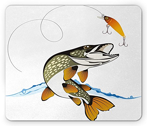 Fishing Mouse Pad, Pike Out of Water Splash to Catch The Trap Lure Tackling Marine Life Illustration -