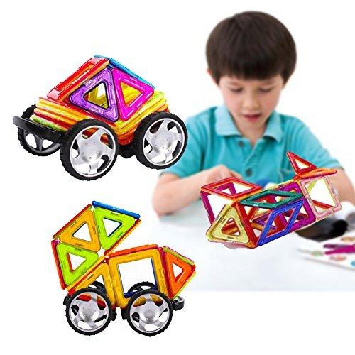 Unbekannt 90Stk Magnetische Bausteine für Kinder, 3D DIY Educational Kleinkind Baukonstruktion Ziegel Spielzeug für Kreativität Fantasie Hirnentwicklung