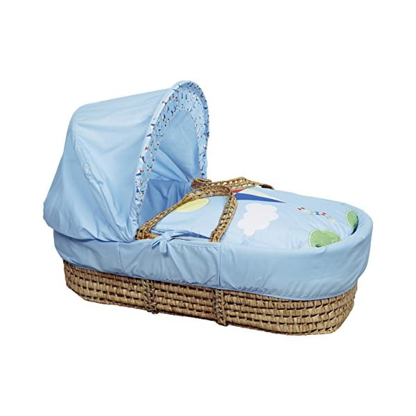Kinder Valley Kite Blue Moses Basket  Suitable from newborn to 6 months, this Moses Basket uses Easy-care Poly Cotton with a soft padding surround A good balance between comfort and style, moses Basket will ensure safe and sound sleeping for you and your baby The Moses Basket is a perfect starter bed for your baby. The mattress is also washable, just in case of any spillages 4