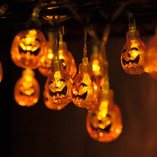 MAXAH 2X Kürbis Lichterkette 20 LEDs 2.3M Halloween Dekoration Lichter