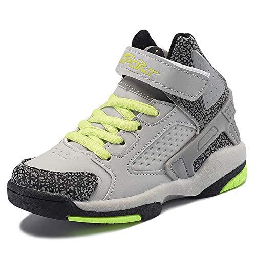 Mltdh Boy Sneakers Leichte und Bequeme Basketballschuhe Running Coach,Gray,32