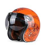 Berrd Casco moto Retro aperto Motocross Motocross Jet Casco retrò Casco moto Arancione Teschio con visiera XL