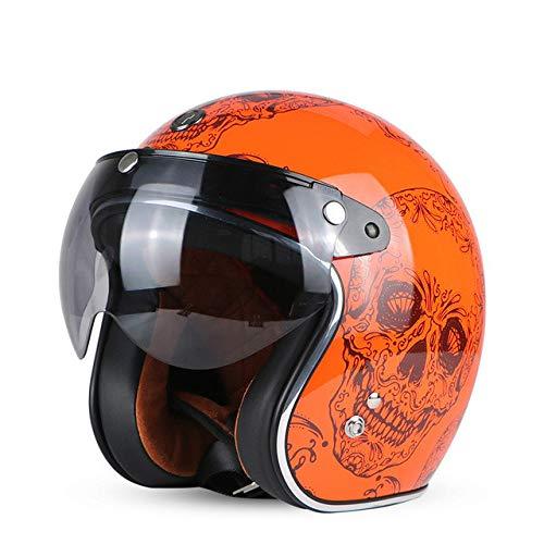 Preisvergleich Produktbild Motorradhelm Retro Open Motocross Motocross Jet Retro Helm Motorradhelm Orange Skull W Visier S