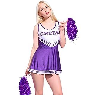 Anladia Mädchen Cheerleader Kostüm Dame Halloween Kostüm Kleid Cheerleading Bekleidung mit 2 Pompoms Purple