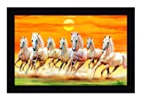 #6: JSOnline Lucky Seven 7 running horses Vastu Recommendation || vastu painting for home and office || Seven 7 lucky running horses painting || Seven 7 horses painting || seven 7 horses || vastu horses UV Digital Matte Textured Paintings with Synthetic Wooden Frame 12x18 Inch for living room and home decore