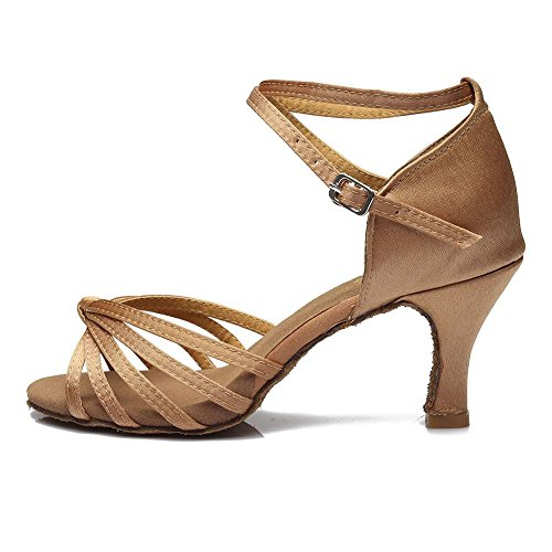 YFF Satin/PU donne latino dancing scarpe da ballo scarpe col tacco 7cm,Beige 7CM,8.5