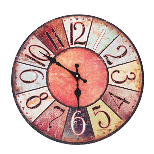 Wanduhr - Vintage Color - Holz Küchenuhr mit großem Ziffernblatt aus MDF, Retro Uhr im angesagtem Shabby Chic Design mit leisem Quarz-Uhrwerk, Ø: 32 cm